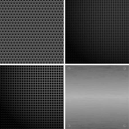 aluminio: Recopilar metall placa con hoyos y remaches, elemento de dise�o, ilustraci�n vectorial