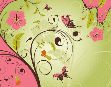 Decorative Floral frame with butterfly, vector illustration Stock Vector - 8898574