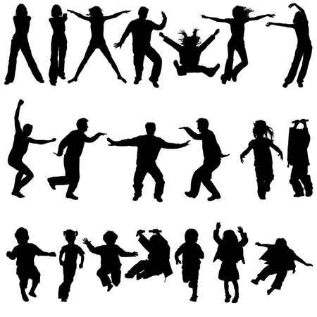 woman jump: Vector silhouettes man and women, girls and boys in action, element for design, illustration