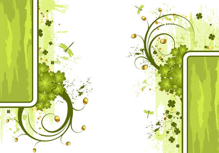Grunge St. Patricks Day frame with coins and dragonfys, element for design, vector illustration Vector