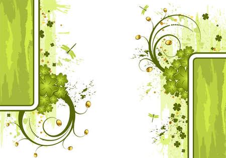 four leafed clover: Marco de d�a de San Patricio de grunge con monedas y del dragonfy, elemento de dise�o, ilustraci�n vectorial