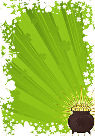 leafed: St. Patrick Day frame with a cauldron of gold coins, vector iilustration