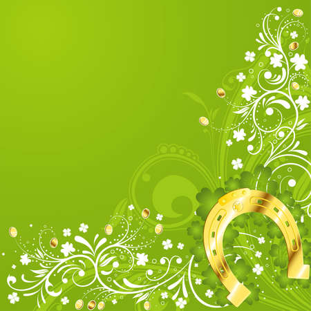 lucky day: St. Patrick Day floral frame with horseshoe, vector illustration
