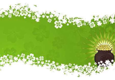 St. Patrick Day grunge frame with cauldron and wave pattern, vector illustration Vector