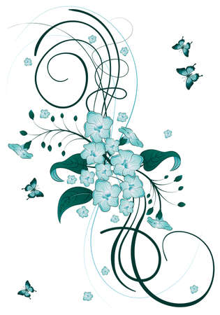 Dekorative Blumen Thema mit Schmetterling, Vektor-illustration Vektorgrafik
