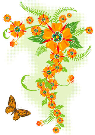Decorative Floral border with butterfly, vector illustration Vector