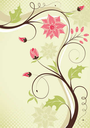 Floral border with bud, element for design, vector illustration Vector