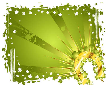 leafed: Grunge St. Patrick Day frame with gold horseshoe, vector illustration Illustration