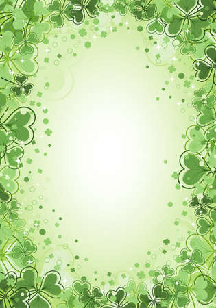 leafed: St. Patrick Day frame with clover leaf, vector illustration Illustration