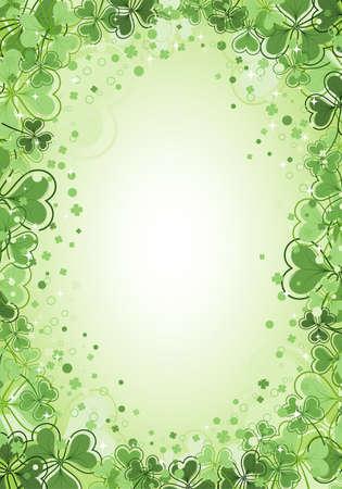 St. Patrick Day frame with clover leaf, vector illustration