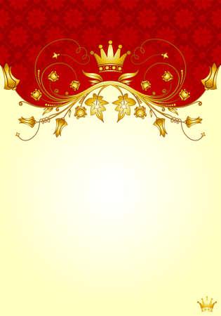 Floral frame with Crown for design, vector illustration Vector