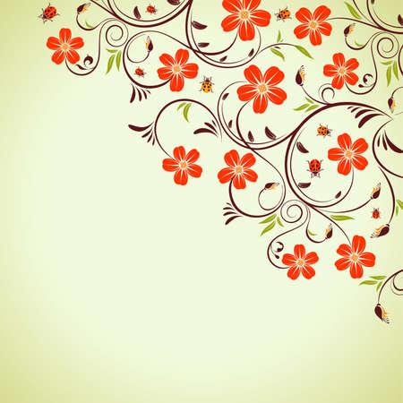 Floral frame with ladybug, element for design, vector illustration Vector
