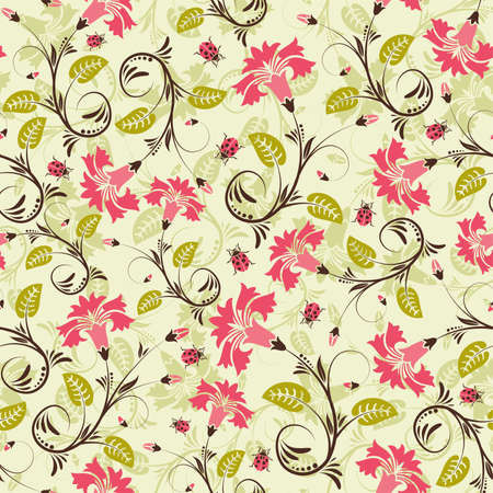wrappers: Flower seamless pattern with ladybug, element for design, vector illustration