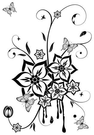 Abstract grunge flower theme with butterfly, element for design, vector illustration