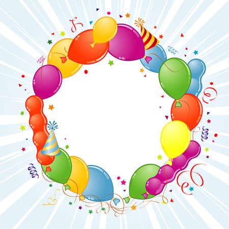 gorros de fiesta: Marco de cumplea�os con globo, Streamer y sombrero de partido, elemento de dise�o, ilustraci�n de vectores
