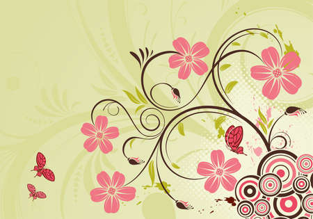 Decorative Floral background with butterfly and circle, vector illustration Vector