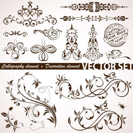 hoekversiering: Verzamelen Calligraphic en Floral element voor ontwerp, vectorillustratie
