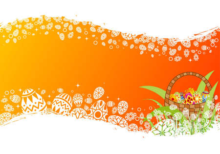 Easter frame with eggs in crib, element for design, vector illustration Vector