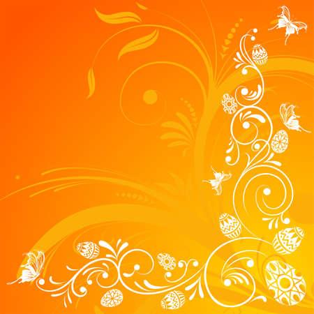 4월: Easter Background with floral and eggs, element for design, vector illustration