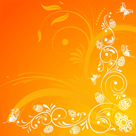 paschal: Easter Background with floral and eggs, element for design, vector illustration