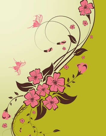 Decorative Floral background with butterfly and wave pattern, vector illustration Vector
