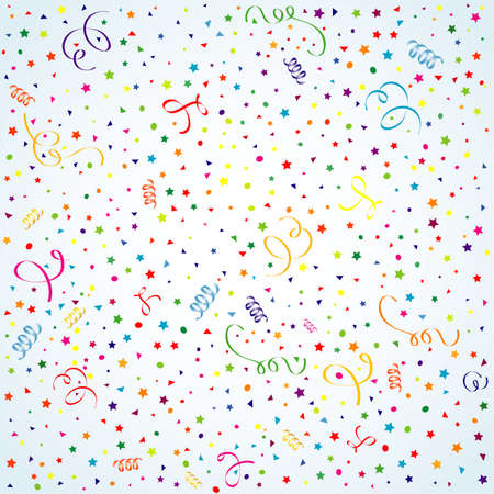 party streamers: Birthday background with streamer and confetti, element for design, vector illustration