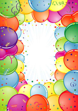 Birthday Frame with Balloon, Streamer and confetti, element for design, vector illustration Vector