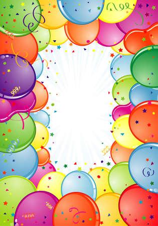 Marco de cumpleaños con globo, Streamer y confeti, elemento de diseño, ilustración de vectores