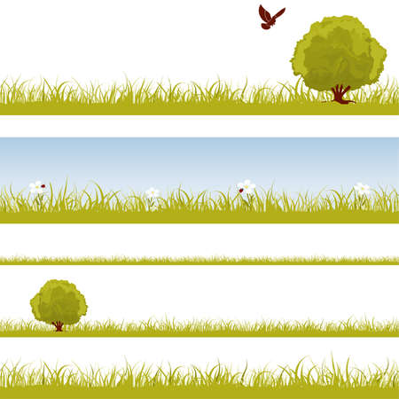 collect: Collect nature seamless background with grass, bush and bird, element for design, vector illustration