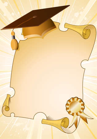 masters degree: Graduation background with cap and diploma, element for design, vector illustration Illustration