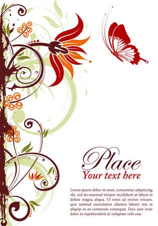 Grunge floral frame with butterfly, element for design, vector illustration Illustration