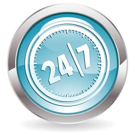 hotline: Drie dimensionale cirkel knop met vierentwintig uur door zeven dagen pictogram, vectorillustratie Stock Illustratie