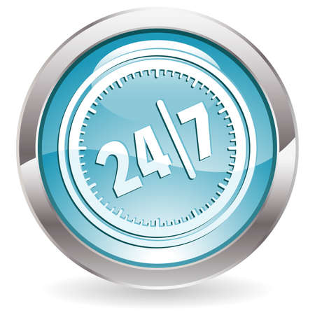 Three Dimensional circle button with twenty four hours by seven days  icon, vector illustration Ilustração