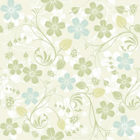 Flower seamless pattern with ladybug, element for design, vector illustration Stock Vector - 9359778