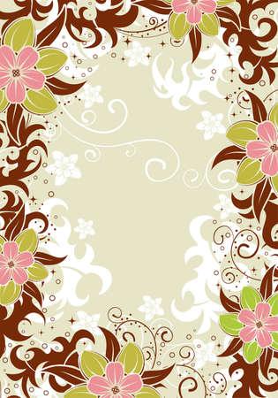 Flower decorative frame, element for design, vector illustration Vector