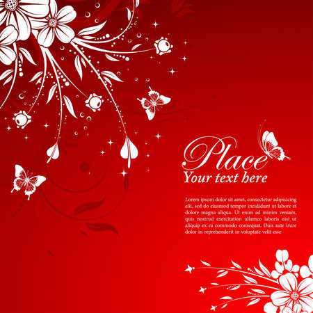 Floral Background with butterfly, element for design, vector illustration Vector
