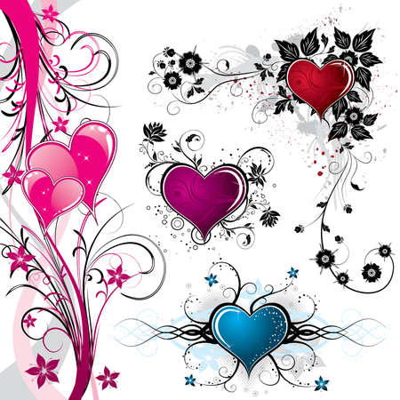 Collect Valentines Day background with Hearts and floral pattern, element for design, vector illustration