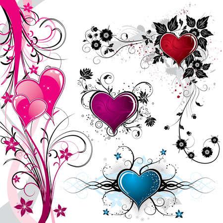 Raccogliere il giorno di San Valentino sfondo con cuori e motivo floreale, elemento di design, illustrazione vettoriale Vettoriali