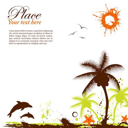m�ve: Abstrakt Grunge Sommer Hintergrund mit Seestern, Element f�r Design, Vector illustration