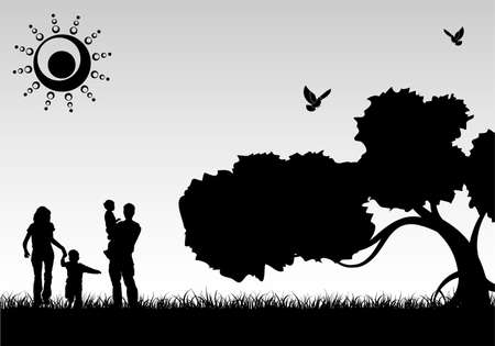 Silhouette Family on Background with Tree and grass, element for design, vector illustration Vector