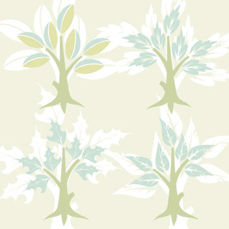 Set Tree with leafs, element for design, vector illustration Vector