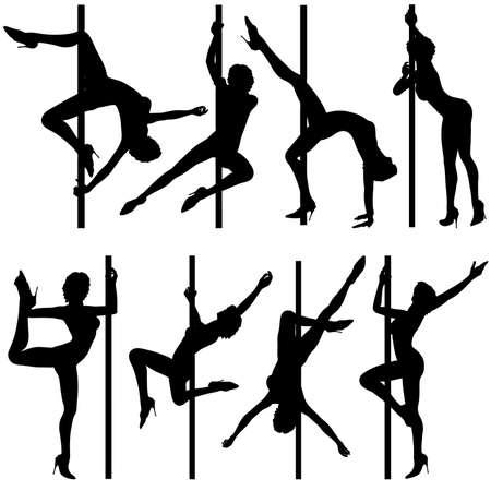 pole dance: Grande raccolta silhouettes donne danzante, illustrazione vettoriale, elemento di design
