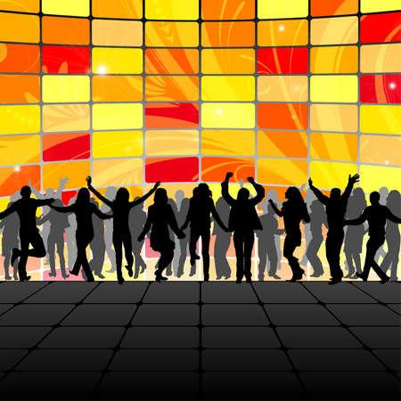 Modello di partito con silhouette, elemento di design, illustrazione vettoriale