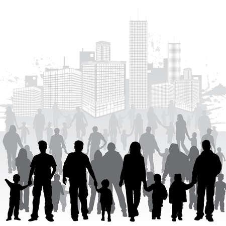 recoger: Recoger grandes siluetas vector de padres con hijos en segundo plano urbano grunge, elemento de diseño