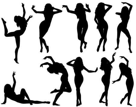 chicas bailando: Recopilar gran silhouettes mujeres baila, ilustraci�n vectorial, elemento de dise�o