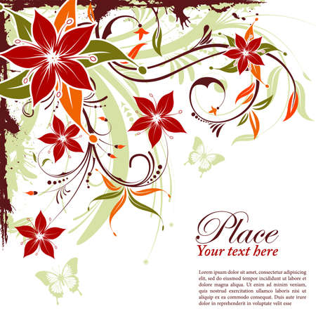 Grunge decorative floral frame with butterfly, element for design, vector illustration Vector