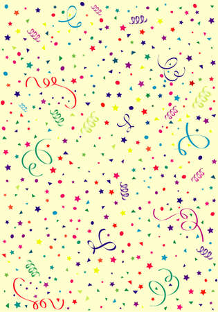 confetti background: Birthday background with streamer and confetti, element for design, vector illustration