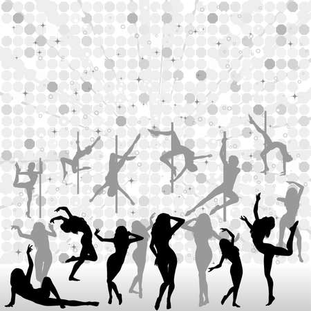 striptease: Big collect silhouettes dancing women on abstract background, vector illustration, element for design