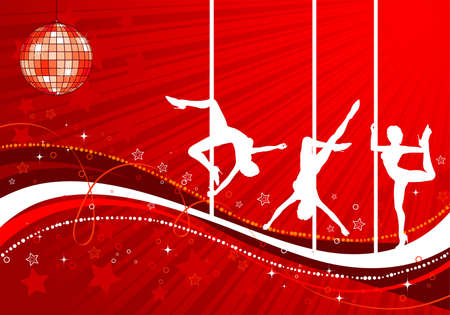 Vector silhouettes dancing women on wave pattern, vector illustration Vector