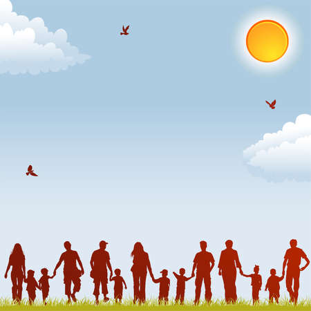 grass family: Silhouettes of family on nature background with bird, sun and grass, element for design, vector illustration